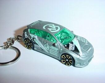 3D Subaru WRX STI custom keychain by Brian Thornton keyring key chain finished in silver racing color trim diecast metal body