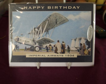 Imperial Airways at Le Nourget, Paris Birthday Card