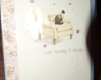 Cat on a Chair Birthday Card