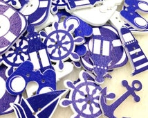 Wooden Nautical Design Buttons - Craft, Sewing, Scrapbooking Embellishment, Cute, Baby Shower, Birthday