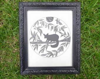 Night Visitor - Possum Wall Art Print of Original Ink Drawing - Limited Edition Signed Illustration