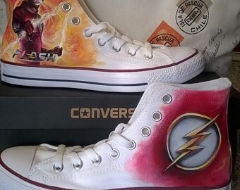 The flash , superhero shoes, custom converse shoes, hand painted shoes, DC comics ,