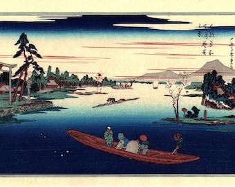 "Japanese Ukiyoe, Woodblock print, antique, Hiroshige, ""Late Spring at Massaki"""