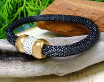 Black Stainless Steel Mesh Bracelet with Gold Crystal Donut Beads