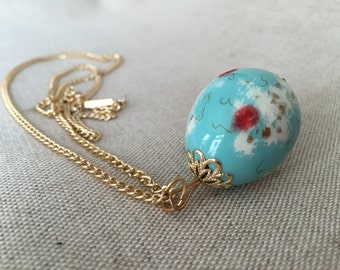 Vintage Hand Painted Quail Egg Necklace in Blue