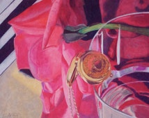 Fine Art Print, Still Life Drawing, Rose, Locket, Mirror, Piano, Glass, Red Fabric, Colored Pencils, Phantom of the Opera, Love Never Dies