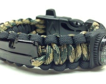 "Paracord Survival Bracelet ""Stealth"" with Fire Starter Buckle, Compass, Whistle, P-38 Multi Tool, Handmade, Survival, Hunting, Hiking"