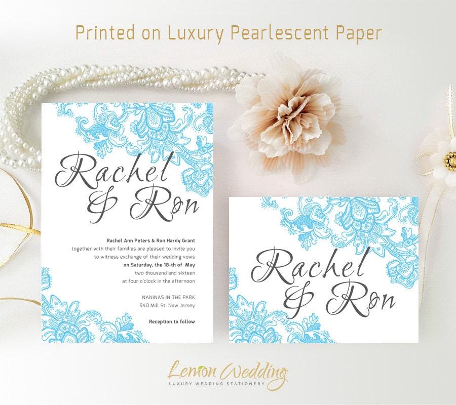 Blue Wedding Invitation Sets Printed On Shimmer Cardstock