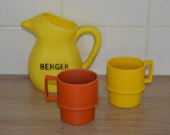 Tumblers/cups - orange and yellow - vintage kitchen or picnic retro Tupperware - feast