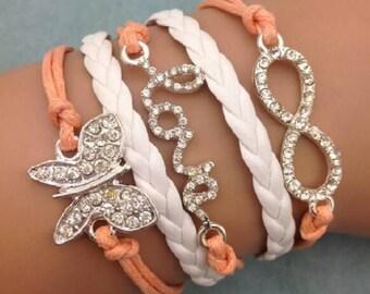 butterfly bracelet, love bracelet, daughter bracelet, braid bracelet, multi-strand bracelet, charm bracelet, teacher, sister, best friend