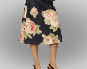 Denim Skirt «Tea roses»