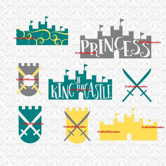 King Castle Princess Swords Midevil Swirl Queen Prince Children Monogram SVG STUDIO Ai EPS Instant Downloads Commercial Cricut Silhouette