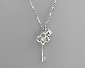 Cubic Zirconia Clover Key Charm Necklace