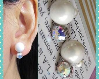 AB Swarovski crystal Bridal Wedding Clip on earrings, C30s, Pearl Clip on earring, Non pierced earrings, Magnetic earring alternative
