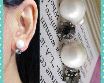 Elegant Black Diamond Rhinestone Bridal Wedding Clip on earrings, C31s, Non pierced earrings, pearl clip on, magnetic earring alternative