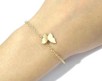 Gold Tiny Butterfly Bridesmaid Bracelet, Bridesmaid Gift, Dainty Wedding Bracelet, Delicate Bridal Bracelet, Best Friend Birthday gift