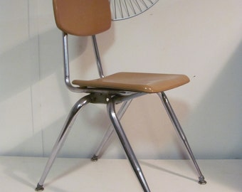 Mid Century Modern Childrens School Chair Harvest Gold By Virco