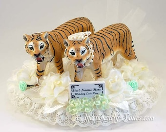 Tiger Bride | Tiger Groom | Wedding Cake Topper | Tiger Wedding | Anniversary Cake Topper | Customized