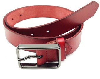 Fashion silver square buckle red leather belt