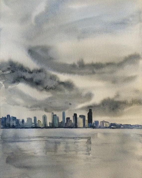 Seattle skyline, Seattle, rainy day, stormy day, West Seattle, Seattle art, storm clouds, Seattle rain, Elliot bay