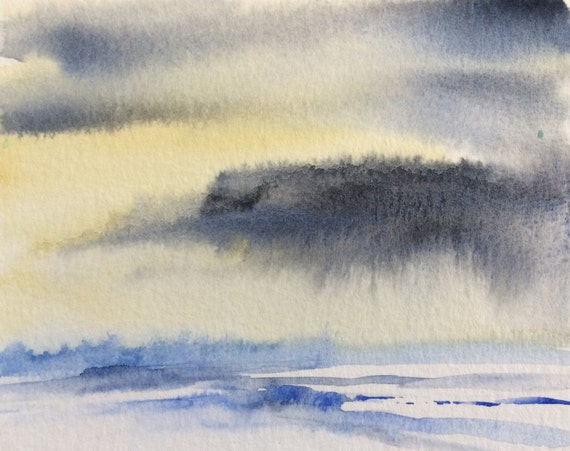 Snow painting, Sky painting, landscape painting, clouds