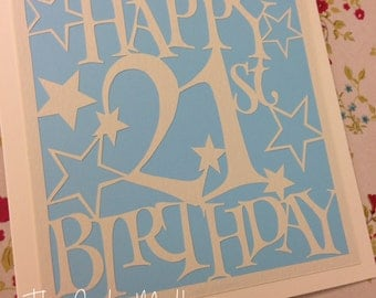 21st Birthday Stars Paper Cutting Template - Commercial Use