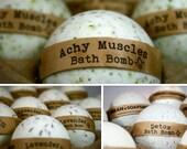 Aromatherapy Bath Bomb Set (3), Achy Muscle, Detox & Lavender Bath Fizzies, All Natural Bath Bombs