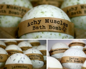 Aromatherapy Bath Bomb Set (3), Achy Muscle, Detox & Lavender Bath Fizzies, All Natural Bath Bombs