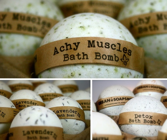 Aromatherapy (3) Bath Bomb Set, Achy Muscle, Detox & Lavender Bath Fizzies, All Natural Bath Bombs