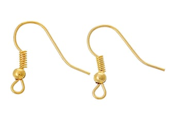 FREE SHIPPING 200Pcs Ear Wire Hook With Spring and Ball