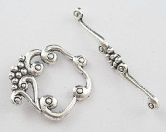 "10 Sets Silver Tone Toggle Clasps Findings 41x5mm(1-5/8""x1/4"")26x24mm(1""x1"")"