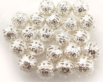 100Pcs Silver Plated Filigree Ball Spacer Beads 10mm