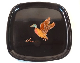 SALE!  REDUCED PRICE!  Couroc Lacquer Tray/Snack Plate with Duck Design
