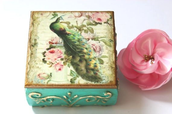wedding ring bearer box peacock keepsake boxpeacock vintage