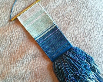 """SOLD OUT Handwoven Tapestry Weaving Wall Hanging 4"""" x 28"""" In Ombre Blue Yarns (""""Hello"""")"""