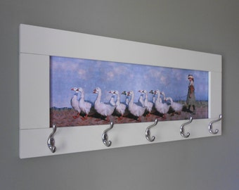 Wall coat rack with egg shell color frame and print on canvas. ( wall hook, coat hanger, decorative wall hooks ,