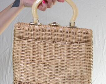 Vintage woven basket bag