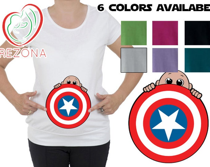 My Peeking Superhero Maternity, pregnancy Halloween New Captain America Shield T-Shirt by Rezona Pregnancy Store, baby shower gift