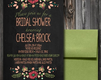 Shabby Chic Floral Bridal Shower Invitation (100)