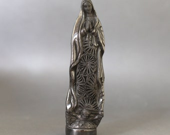 Beautiful Our Lady Of Guadalupe, catholic statue in black clay. 9.5 inches