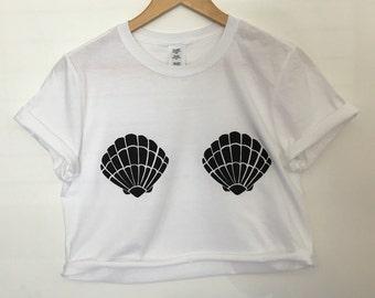 White Mermaid Crop Top Black Shells T-shirt Summer / crop top option
