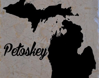 "Set of 4 ""Petoskey Michigan"" Coasters"