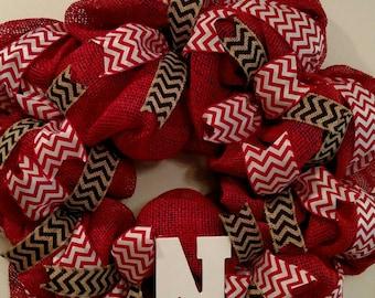 Red Burlap Deco Mesh Chevron Nebraska Wreath. Free Shipping!