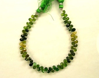 """Shaded chrome green tourmaline faceted pear bead AA+ 5.5-6mm 7.5"""" strand"""