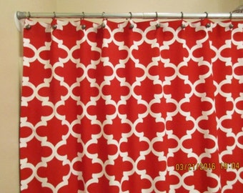 "Bathroom Shower Curtain / Extra Long, Reg. length also! / 72"", 84"", 90"" / Premier Prints Rojo Red"