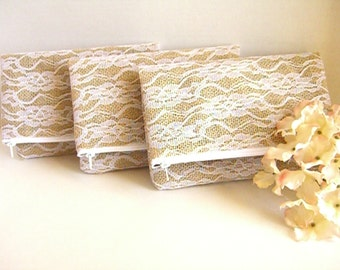 Set of 5 - Burlap And Lace Foldover Clutch - Bridal Clutch - Rustic Clutch - Wedding Clutch - Burlap Clutch - Bridesmaid Clutch