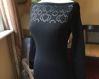 Black Eyelet Lace Top Long Sleeves Exclusive Seamless Stretch Top with Lace Carre Design Stretch Lace Underjacket Blouse Eyelet Decollete