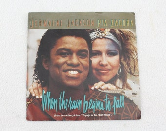 Vintage Record Jermaine Jackson Pia Zadora When the rain begins to fall in 1984  vinyl record