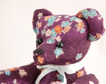 Japanese fabric Teddy Bear (Purple flower)