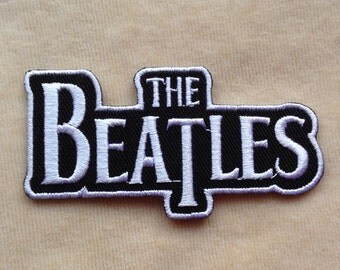 The Beatles Band Iron On Patch #Black With White